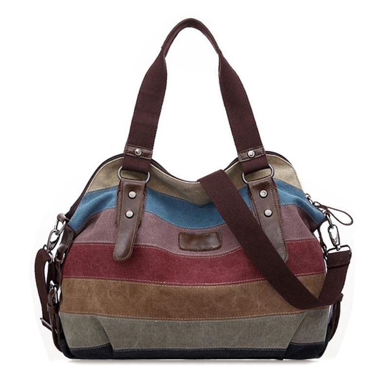 ABDB 2018 Fashion Women Bag Canvas Handbag Messenger Bag Leather Shoulder Bag Stripe Crossbody Bag