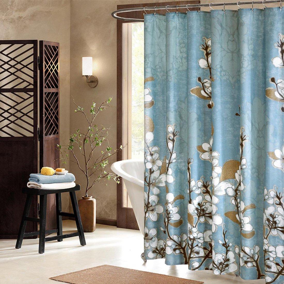 Hanakotoba голубая занавеска для душа, цветок полиэстер плесени устойчивы, растения для ванной комнаты, Цветочный, печать водонепроницаемая зан...