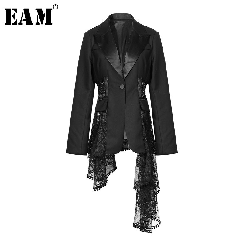 [EAM] 2018 Новый осень-зима нагрудные с длинным рукавом черный нерегулярные темперамент кружева Разделение совместное куртка Для женщин пальто...