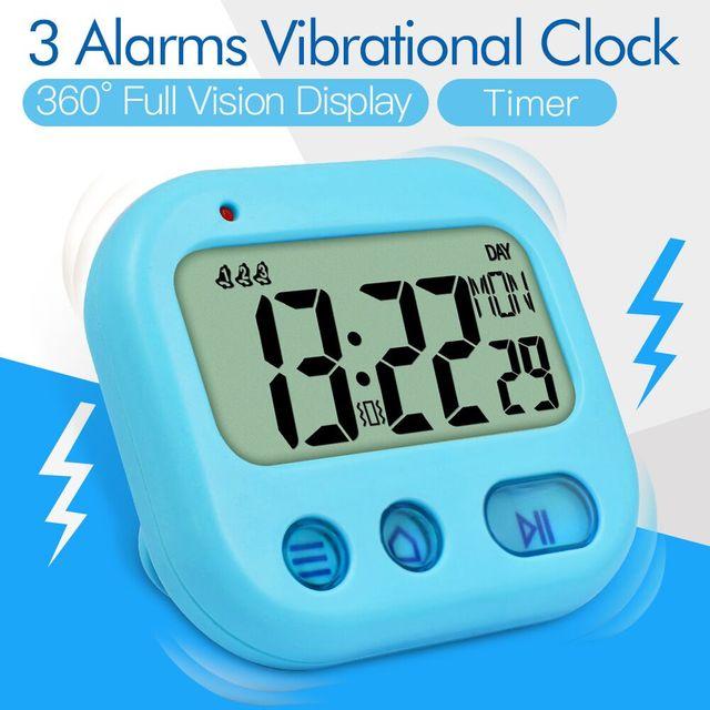 Mini Kids Clock Student pocket Timer Vibrating Snooze Alarm Clock Digital, Danish Espanish Dutch Italy French German day display