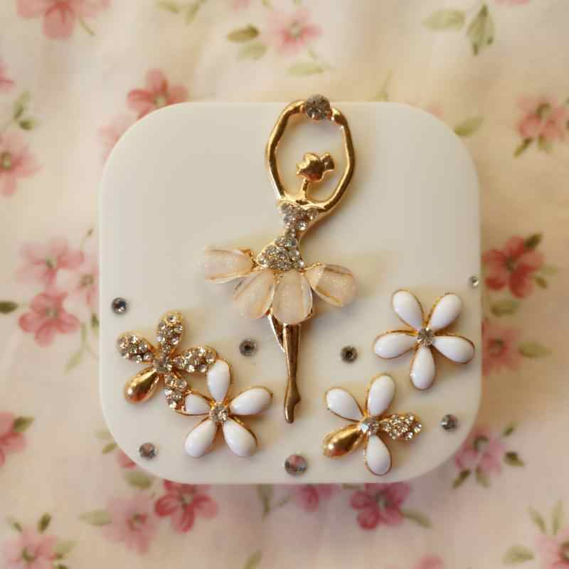 LIUSVENTINA DIY alloy Diamond Ballet girl and flower box for lens contact lenses case for glasses