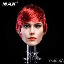 Red hair 1/6 YMT015 C European and American mixed-race female head carving Head Sculpt F 12 TBleague PH Seamless Figure Body
