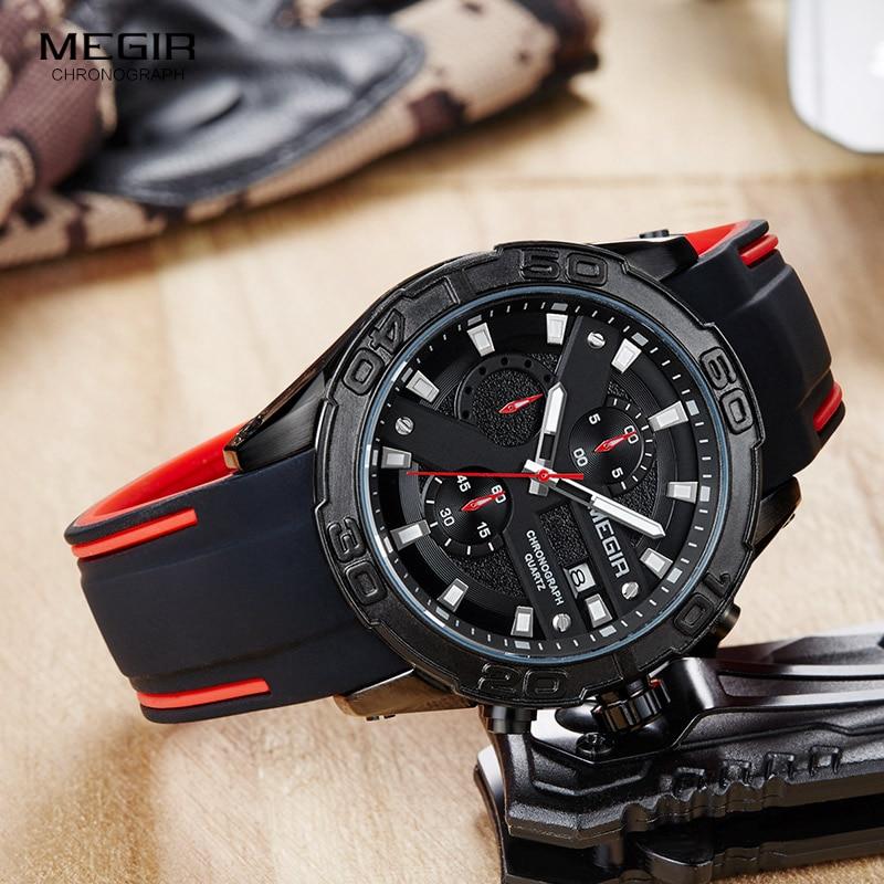 Image 4 - MEGIR Mens Fashion Sports Quartz Watches Luminous Silicone Strap Chronograph Analogue Wrist Watch for Man Black Red 2055G BK 1Quartz Watches   -