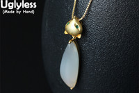 Uglyless Real S925 Sterling Silver Fox Pendants Necklaces with Chain Women Natural White Chalcedony Jewelry Lovely Animal Bijoux