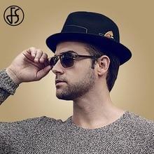 FS Wide Brim Black Fedora Hats For Men Autumn Vintage Top Jazz Hat Winter Wool Felt Godfather Trilby Caps Chapeau Homme