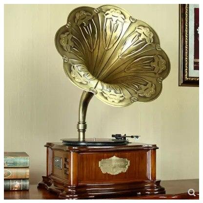 Unterhaltungselektronik Treu Retro Styling Holz Big Horn Bluetooth Phonographen Gramophone Fernbedienung/fm/volumn Control High-end Home Furnishing Volumen Groß Plattenspieler