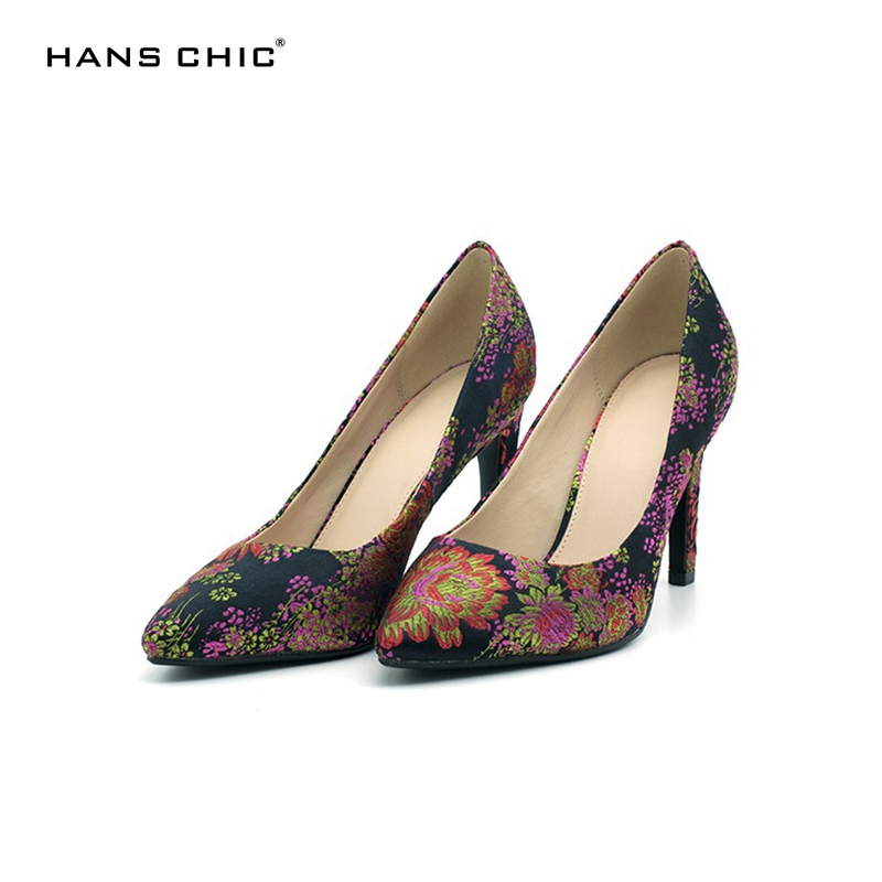 HANSCHIC 2017 Chinese Dark Navy Blue Embroidery Floral Retro Slip on Ladies Women High Heels Pumps Shoes for Female 1066-11