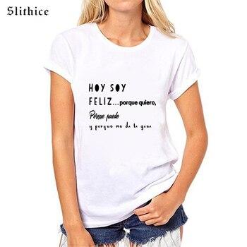 Женская футболка Slithice, повседневная хлопковая футболка с коротким рукавом и принтом в испанском стиле, белый и черный цвета