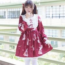 97d0c343a Mori Menina Primavera Outono Vestido Doce Mulheres Japonês Harajuku Lolita  Floral Impresso Manga Comprida Vestido Famale