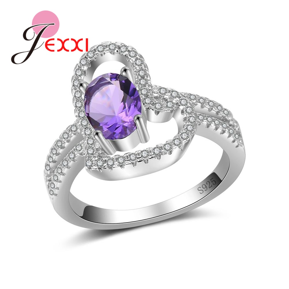 JEXXI Big Promotions Real S90 Silver Rings Jewelry Luxury Design With Cubic Zirconia Wedding Rings For Women