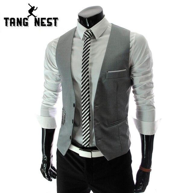 2017 New Gentle Men Vest Men's Formal Suit  V-necked vest  Slim Fit Fashion 4 colors M-XXL MWM151