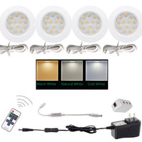 4pcs/Set 12V 3W LED Under Cabinet Light Wireless IR Remote Control LED Puck Light 12V LED Counter light With On/ Off Switch