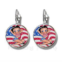2018 New Betty Boop Uniform Dress Series Pattern Art Picture Earrings DIY Charms Stud Earrings For Women Girls Wonderful Gift(China)