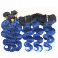 Рия волос T1B/Ocean голубой цвет Средства ухода за кожей волна волос 3/4 Связки с 13*4 Синтетический Frontal шнурка волос бразильский человеческих Хим