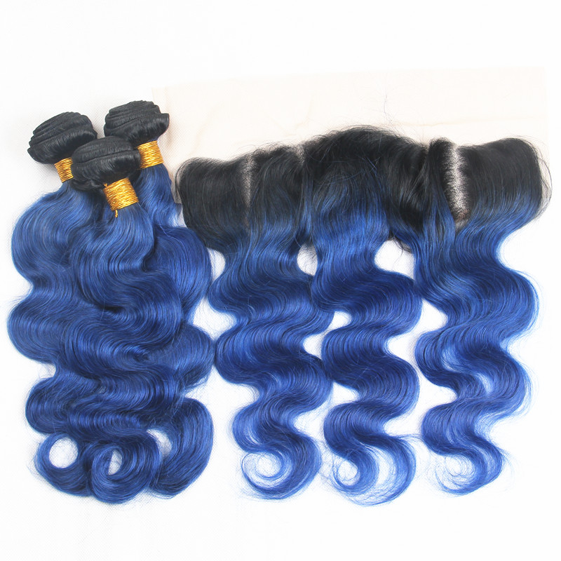Human Hair Weaves Sincere Riya Hair T1b/ Ocean Blue Color Body Wave Hair 3/4 Bundles With 13* 4 Lace Frontal Brazilian Human Hair Extension With Closure Less Expensive