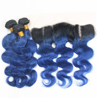 Riya Hair T1B/ Ocean Blue Color Body Wave Hair 3/4 Bundles With 13* 4 Lace Frontal Brazilian Human Hair Extension With Closure