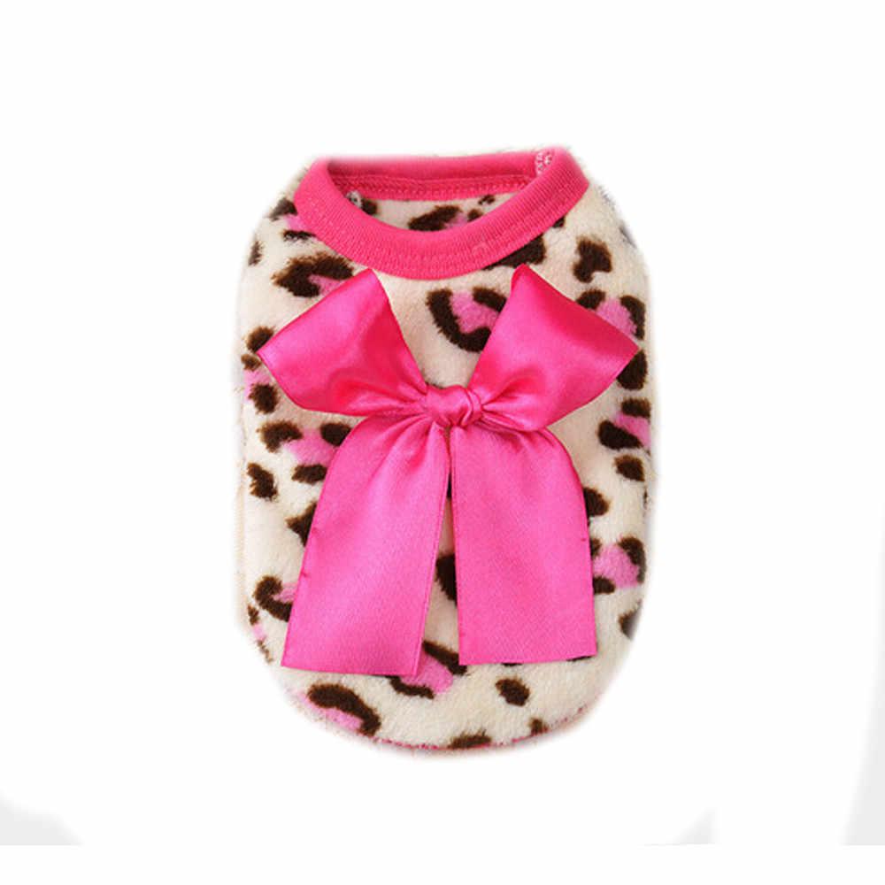 חג המולד חם כלב בגדי Bowknot נמר דפוס חיות מחמד כלב תלבושות לסרוג מעיל בגדי אפוד מעיל הלבשה Roupa לחיות מחמד מתנה