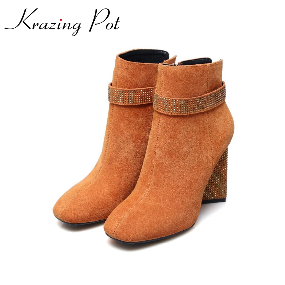 Krazing pot cow suede diamond bling winter shoes solid zipper square thick high heels plus size fashion fashion ankle boots L12 krazing pot cow suede diamond bling winter shoes solid zipper square thick high heels plus size fashion fashion ankle boots l12