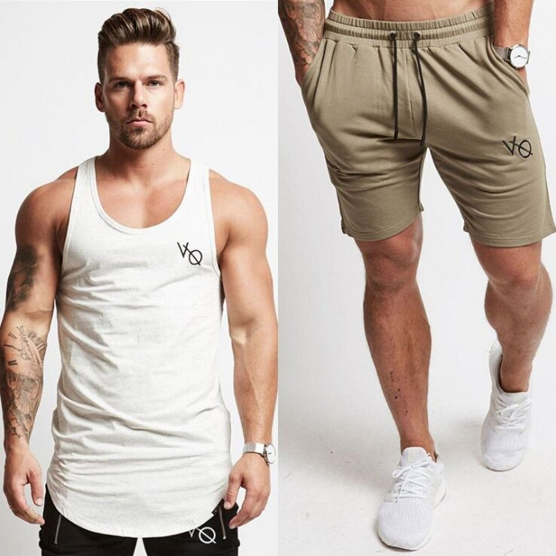 e381d994a278 2018 New Summer Short Sets Men Casual Vanquish Printing Suits For Men  Chinese Style Suit Sets Bodybuilding Tank Tops + Shorts