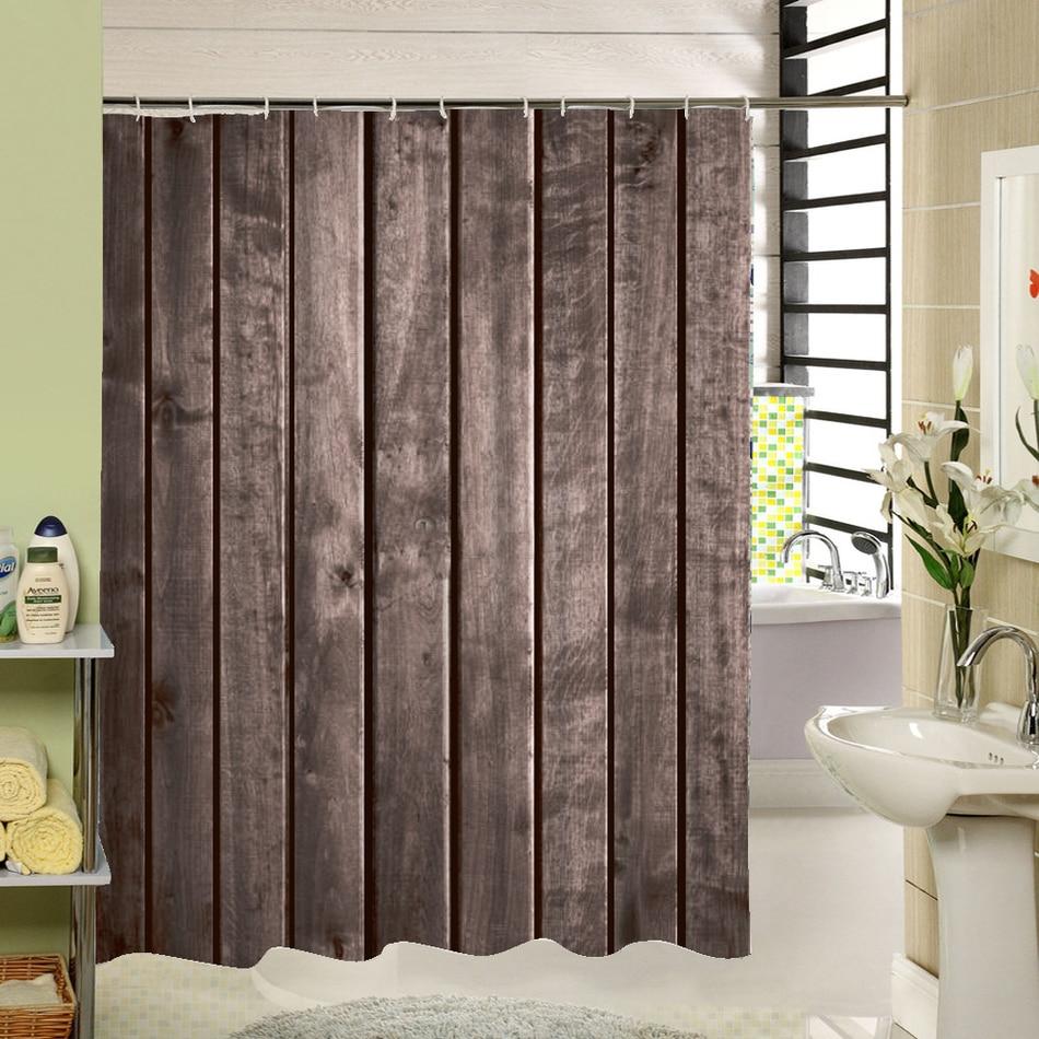 Polyester Shower Curtain Old Bronze Wooden Garage Door ...