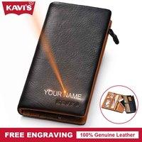 KAVIS Genuine Leather Wallet Men Coin Purse Gift For Male Clutch Walet Portomonee PORTFOLIO Money Bag