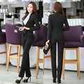 Novelty Black Formal Uniform Design Female Professional Business Women Pantsuits Autumn Winter Jackets And Pants Trousers Sets