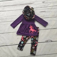 Fall Winter 3 Pieces Scarf Purple Top Baby Girls Kids OUTFITS Unicorn Print Pant New Design