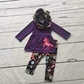 Otoño/invierno 3 unidades de la bufanda púrpura superior del bebé niñas niños TRAJES Unicorn print pant nuevo diseño venta caliente boutique de ropa para niños conjuntos
