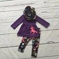 Outono/inverno 3 peças cachecol roxo top meninas do bebê crianças ROUPAS unicórnio impressão pant novo design venda quente boutique de roupas crianças conjuntos