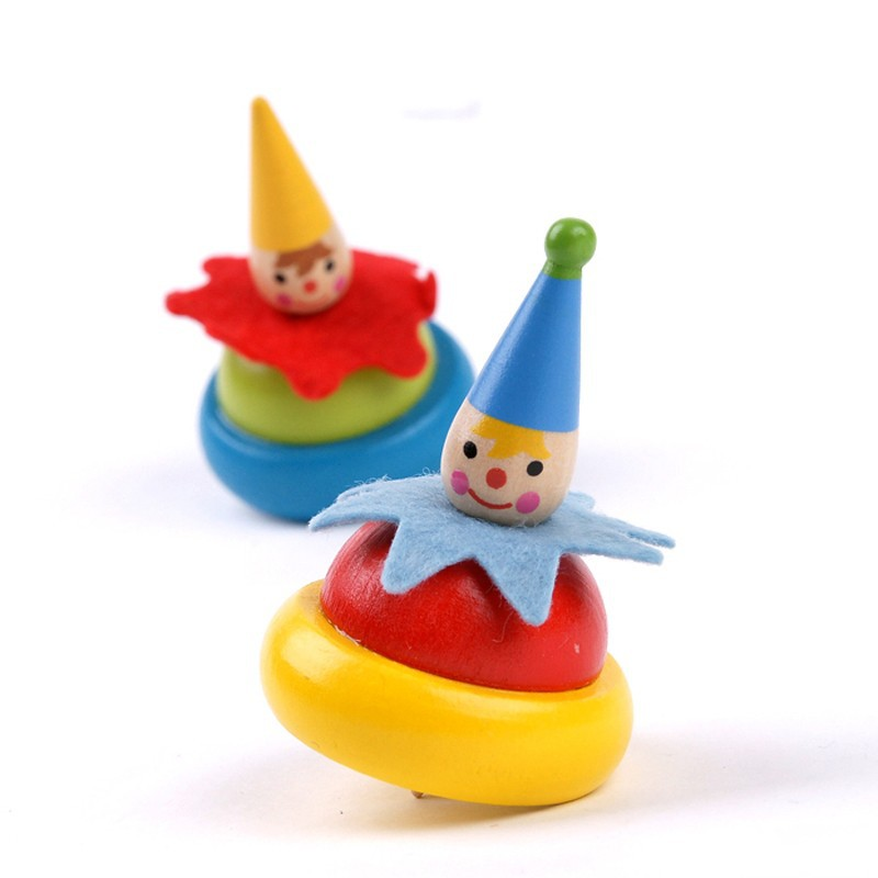 10 pcs / lot chldren merek Gokie kartun kayu berputar puncak mainan, Anak-anak anak badut pola kayu klasik mainan atas