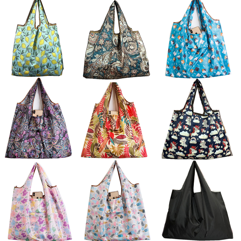 Durable Black Foldable Eco Shopping Bag Lady Foldable Oxford Cloth Reusable Fruit Grocery Pouch Recycle Organization Bag