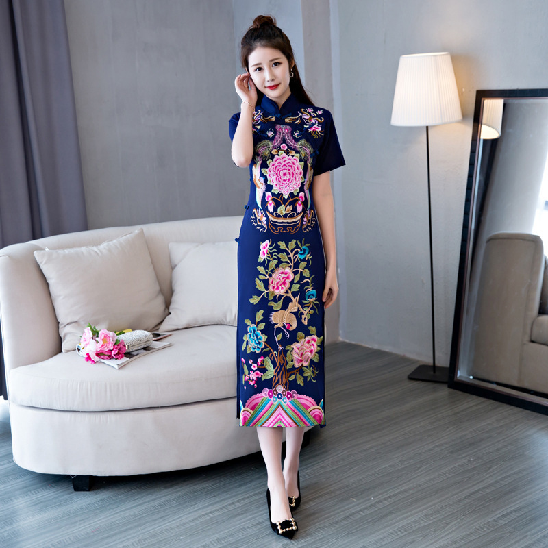 2018 Vietnam Ao Dai Dress Blue Cheongsam Long Red Flower Qipao Chinese Traditional Women Clothing Summer