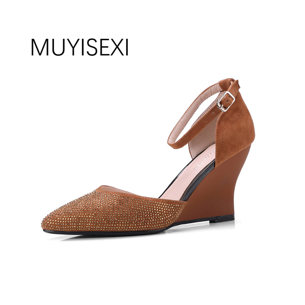Womens Shoes Heels Women Pumps Spring Genuine Leather Pointed Toe Wedges Woman Party Shoes Wedding Shoes MY05 MUYISEXI 2017 new spring autumn big size 11 12 dress sweet wedges women shoes pointed toe woman ladies womens