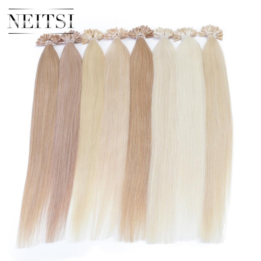 Neitsi Straight Brazilian Keratin Human Fusion Մազերի - Մարդու մազերը (սպիտակ) - Լուսանկար 5