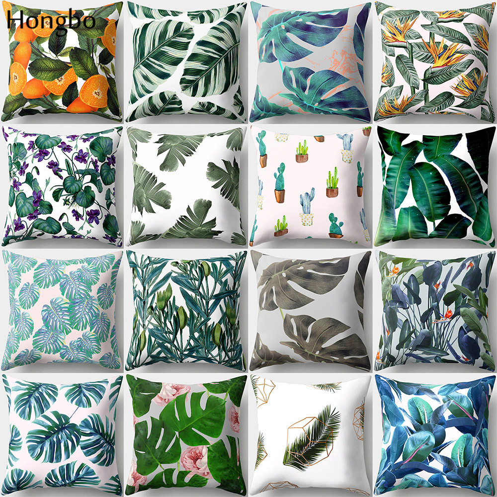 Hongbo 1 Pcs Tropic Forest Rain Green Leaves Pillow Case Cushion Cover For Car Sofa Decoration Polyester Peach Skin
