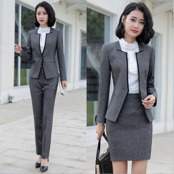 Blazer and Pants 2 Pieces Set Plus Size Pants Suits for Women Formal Trouser Suit Woman Office Pantsuit Korean Attire Black Grey