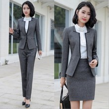 Blazer and Pants 2 Pieces Set Plus Size Pants Suits for Women Formal Trouser Suit Woman Office Pantsuit Korean Attire Black Grey