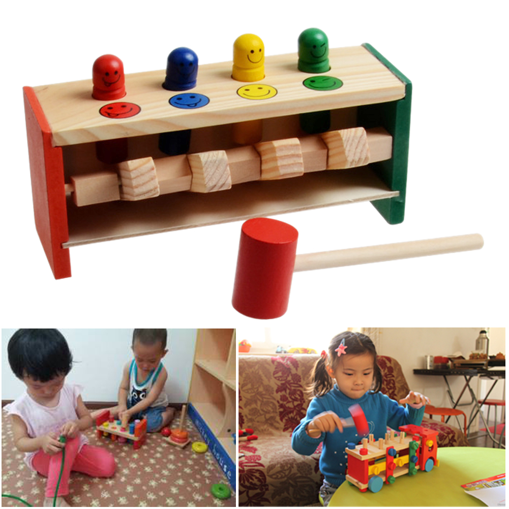 Baby Wooden Hammer Toys +Stick Hammer Box Toddlers Educational <font><b>Puzzle</b></font> Toys for Children Wooden Game Hammering <font><b>Bench</b></font> Kids Toys