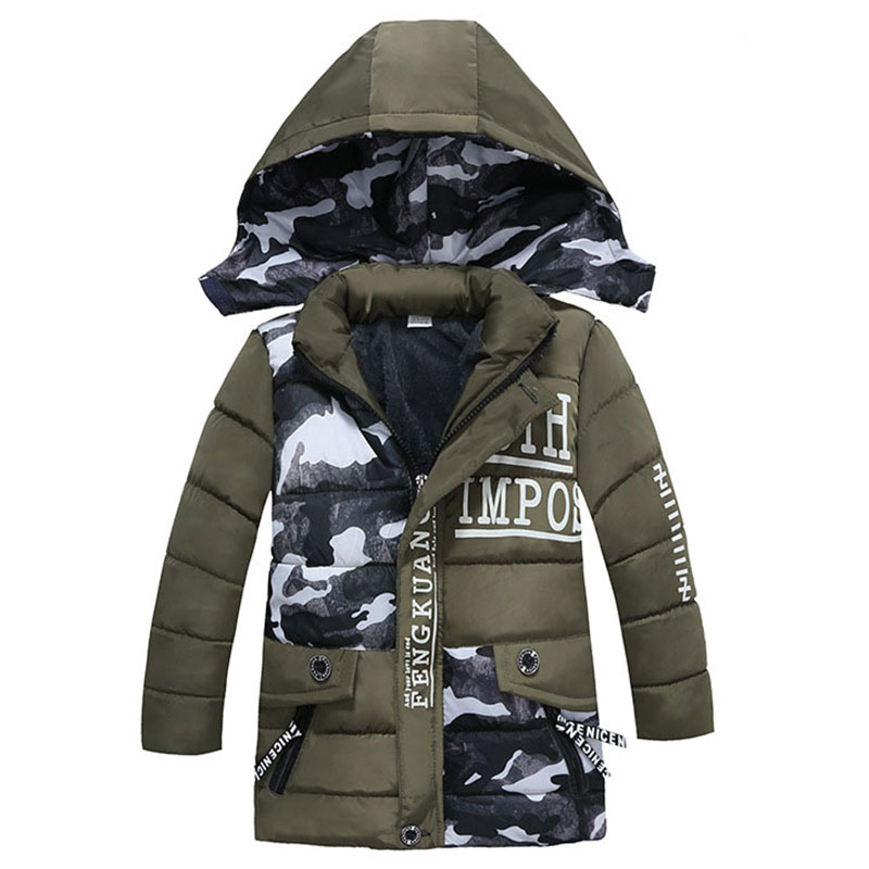 Children Winter Jackets Outerwear Coats Hooded Boys Kids for Thick Fur-Collar Warm