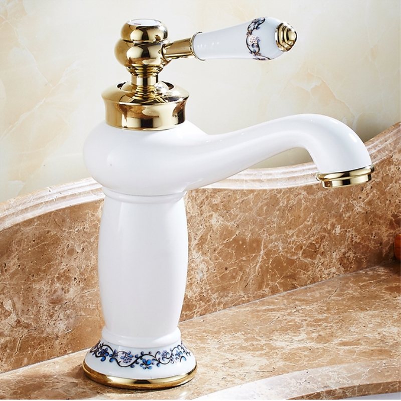Modern Gold Basin Faucets Brass White Body Faucet Bathroom Accessories Single Handle Single Hole Hot & Cold Mixer Taps LX-2106