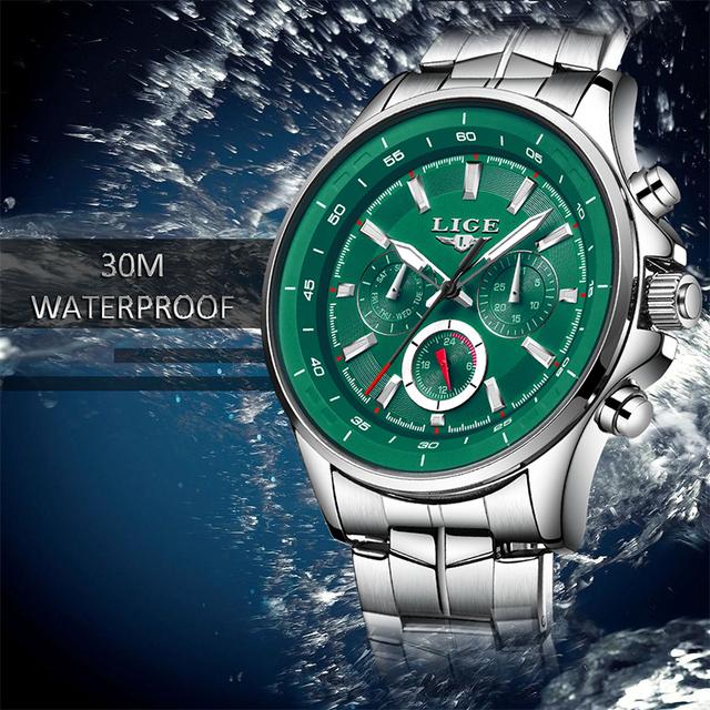 LIGE Sport Men Watch Men Quartz Wristwatch Waterproof Shockproof Steel Band Black Army Male Clock Relogio Masculino Hodinky+BOX