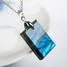 Top Natural Labradorite Blue Light Gemstone Pendant Gift 925 Silver 26x18x6mm Rectangle Shape Crystal Moonstone AAAA