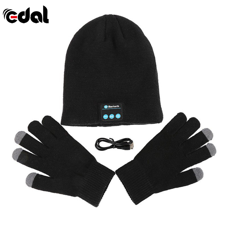 EDAL Headset Warm Winter Beanie Hat Wireless Bluetooth Smart Cap Headset Headphone Speaker Mic Bluetooth Hat With Gloves unisex winter plicate baggy beanie knit crochet ski hat cap red