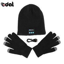 EDAL Headset Hangat Musim Dingin Beanie Topi Topi Headset Headphone Nirkabel Bluetooth Pintar Speaker Mic Bluetooth Hat Dengan Sarung Tangan(China)