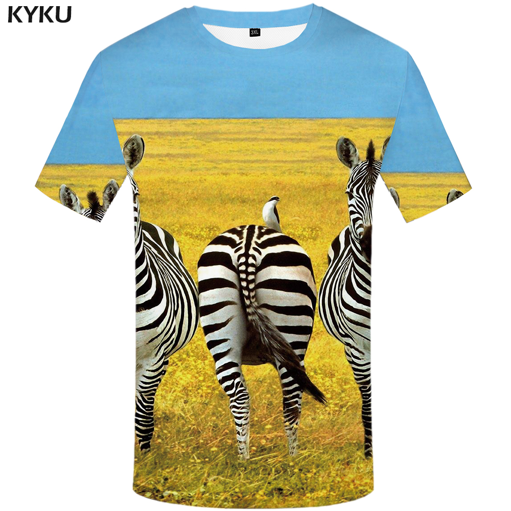Kyku Zebra Tshirt Men Yellow Animal T Shirt Anime Clothes