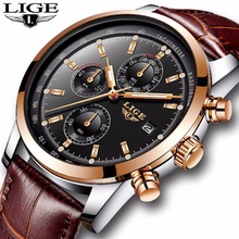 2018New LIGE Mens Watches Top Brand Luxury Leather Quartz Watch Men Military Sport Waterproof Clock Gold