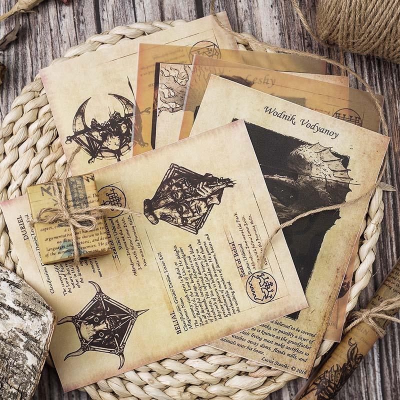 8 шт., старые книжные страницы, бумага с монстрами, негодяй, дневник, крафт-бумага, скрапбукинг, винтажные декоративные поделки сделай сам, фо...