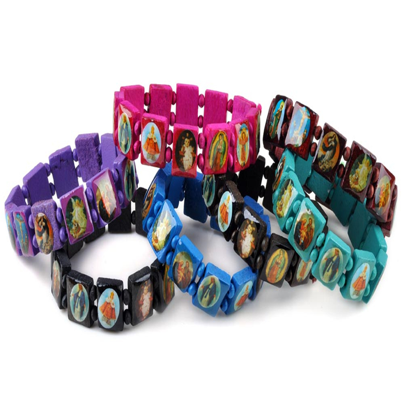50pcs Bulk Fashion Wooden Jesus Bracelet Wood Saints