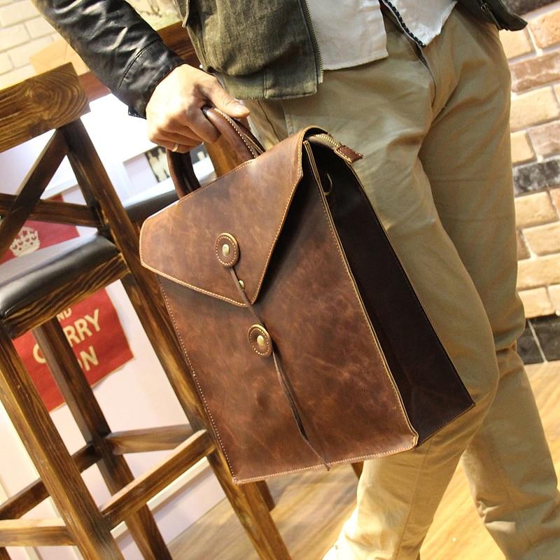ФОТО vintage crazy horse leather bag envelope leisure schoolbag men backpack fashion multifunctional men bag laptop men's travel bags