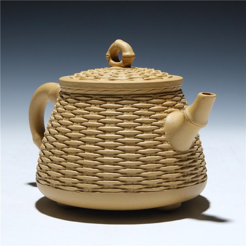 2017 Hand-made Zisha teapot Yixing teapot authentic original ore section mud three feet bamboo basket 420ml (with certificate)2017 Hand-made Zisha teapot Yixing teapot authentic original ore section mud three feet bamboo basket 420ml (with certificate)